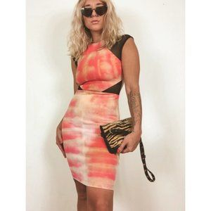 Mesh Cut Out Body Con Hand Dyed Red Party Dress